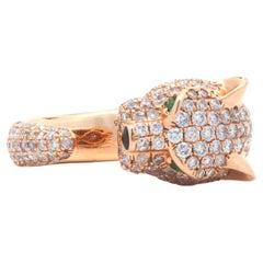 18 Karat Rose Gold Pave Diamond Panther Ring
