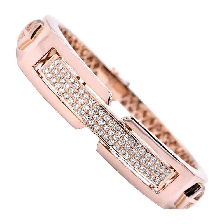 18 Karat Rose Gold Pave Diamond Shield Bangle Bracelet