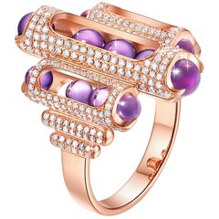 18 Karat Rose Gold, Pave Diamonds, Amethyst-Melody Cocktail Ring