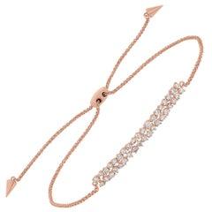 18 Karat Rose Gold Pave Round Diamond Rectangle Bar Adjustable Bracelet