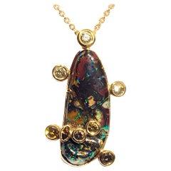 18kt Rose Gold Pendant with Cognac Diamonds and Australian Boulder Opal