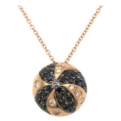 18 Karat Rose Gold Pendent with Black and White Diamonds Made in Italy