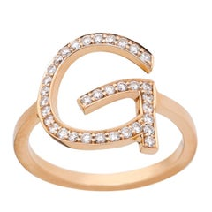 18 Karat Rose Gold with White Diamonds 0.30 Carat Personalized ABC Ring