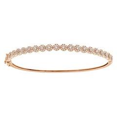 18 Karat Rose Gold Petite Halo Diamond Bangle '1 Carat'