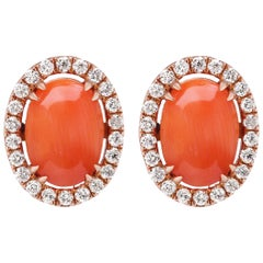 18 Karat Rose Gold Pink Coral and Diamond Halo Stud Earring