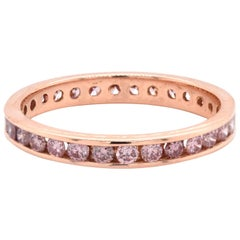 18 Karat Rose Gold Pink Diamond Eternity Band