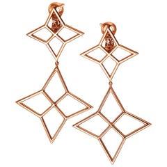 18 Karat Rose Gold Pink Gold Earrings