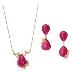 18 Karat Rose Gold, Pink Rubelites and Diamonds Earrings and Necklace