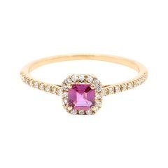 18 Karat Rose Gold Pink Sapphire and Diamond Cluster Ring