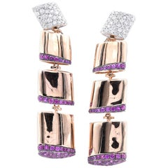 18 Karat Rose Gold Pink Sapphire and Diamond Square Link Earrings