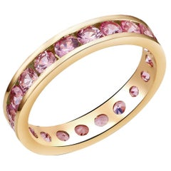 Eighteen Karat Rose Gold Pink Sapphire Eternity Band Weighing 3.35 Carat