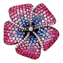 18 Karat Rose Gold Pink Sapphire Pave Brooch and Pendant