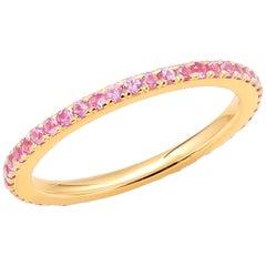 18 Karat Rose Gold Pink Sapphire Prong Set Eternity Band