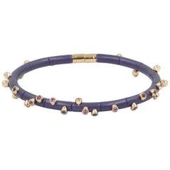 18 Karat Rose Gold Pink Sapphires and Violet Aluminium Bracelet