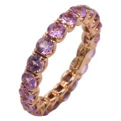 18 Karat Rose Gold Pink Sapphires Garavelli Band Eternity Ring