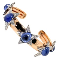 18 Karat Rose Gold, Platinum, Sapphire and Diamond Stellar Cuff
