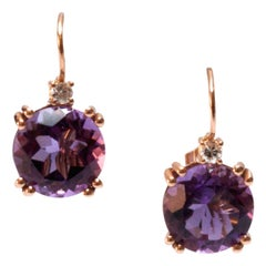 18 Karat Rose Gold Purple Round Amethyst and Diamond Earrings