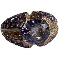 18 Karat Rose Gold Purple Spinel Cocktail Ring with Sapphires and Diamonds