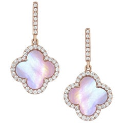 18 Karat Rose Gold Quatrefoil Mother of Pearl Diamond Earrings