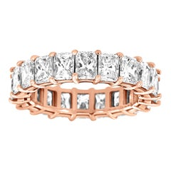 18 Karat Rose Gold Radiant Eternity Diamond Ring '6 Carat'