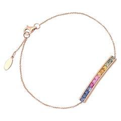 CJ Charles 18 Karat Rose Gold Rainbow Sapphire Bracelet