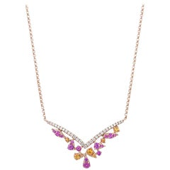 18 Karat Rose Gold Rainbow Sapphire Cluster V Necklace