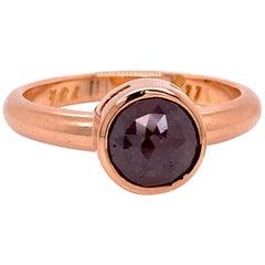 18 Karat Rose Gold Red Brown Rosecut Diamond Ring