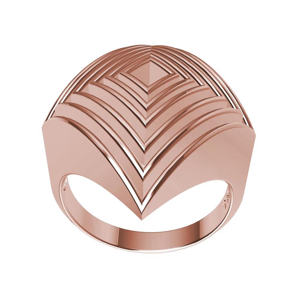18 Karat Rose Gold Rhombus Row Ring