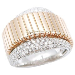 18 Karat Rose Gold Ribbed Band Over Diamond Pavé Band Ring