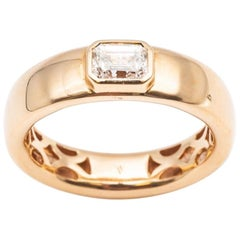 18 Karat Rose Gold Ring Bezel Setting Emerald Cut Diamond E Color 0.54 Carat