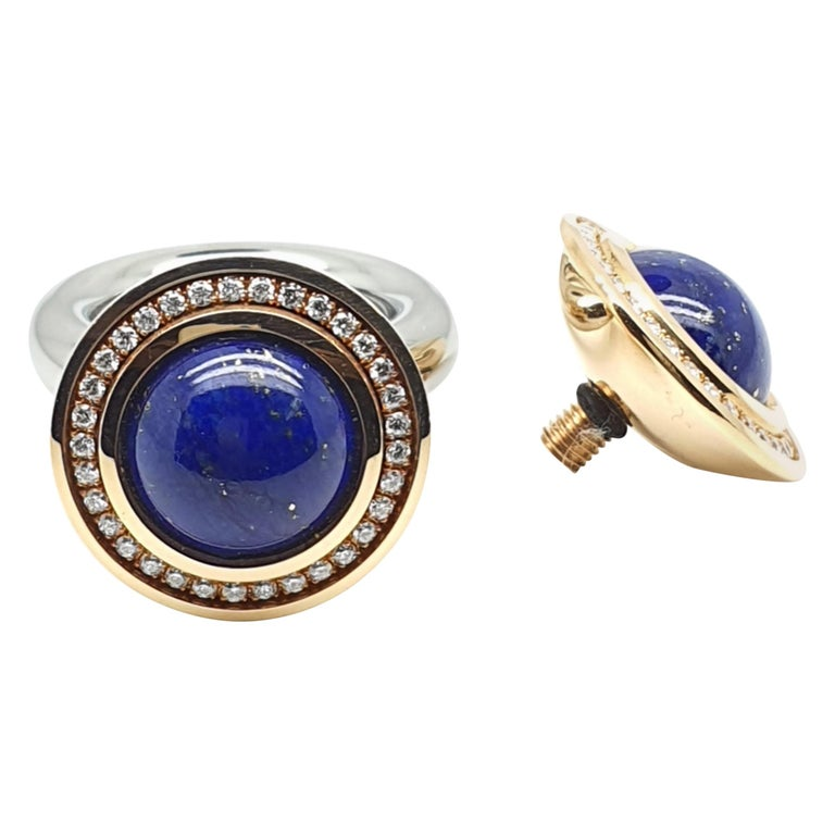 18 Karat Rose Gold Ring or Necklace Component with Lapis Lazuli and Diamonds For Sale