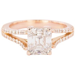 18 Karat Rose Gold Ring with 2.02 Carat GIA Certified Emerald Cut Diamond