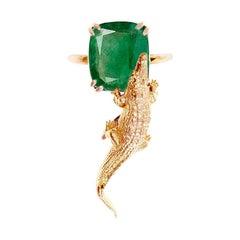 18 Karat Rose Gold Ring with 2.23 Cts Cushion Natural Emerald