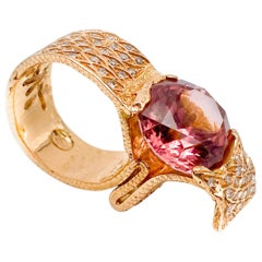 18 Karat Rose Gold Ring with Red Tourmaline 'Carat 12' and Diamonds 'Carat.1.36'