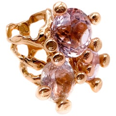 18 Karat Rose Gold Ring with Topaz, Morganite and Kunzite
