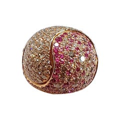 18 Karat Rose Gold Ring with White and Brown Diamonds and Sapphires
