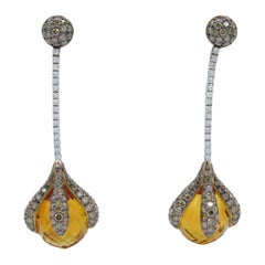 18 Karat Rose Gold Rodney Rayner Citrine and Diamond Dangle Earrings