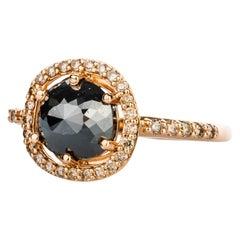 18 Karat Rose Gold Rose Cut Black Diamond Ring with Champagne Diamond Halo