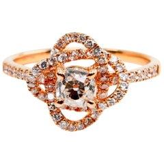 18 Karat Rose Gold Rose Flower Ring with Old Mine Cut Diamonds, Unique 3D Look