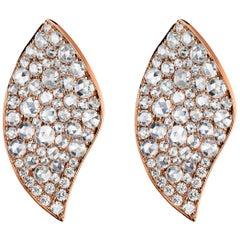 18 Karat Rose Gold Rose Gold Rose Diamond Stud Earring