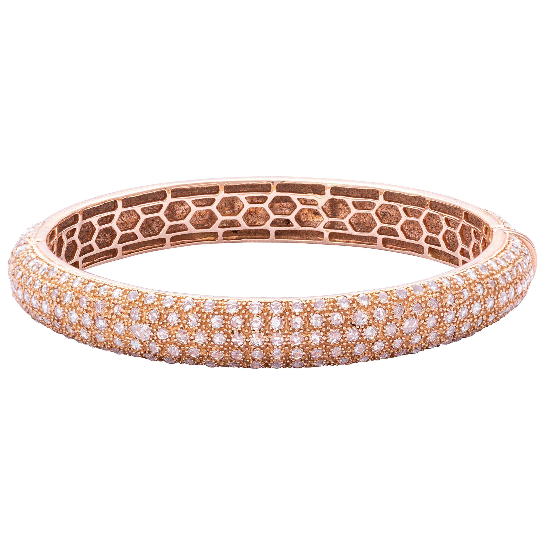 18 Karat Rose Gold Rosecut Diamond Cuff Bracelet
