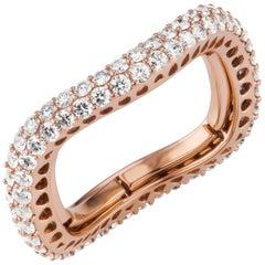 18 Karat Rose Gold Round Diamond Adjustable Band Ring