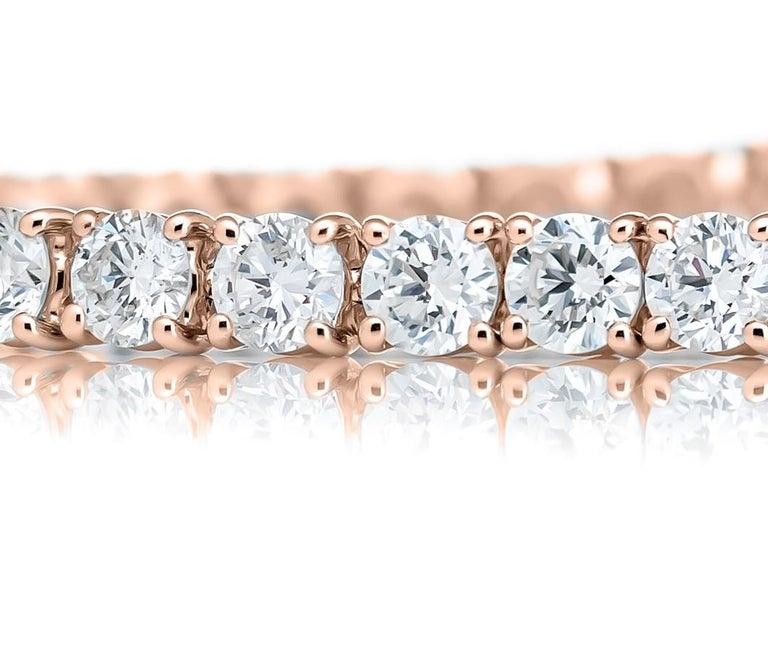 Round Cut 18 Karat Rose Gold Round Diamond Bracelet For Sale