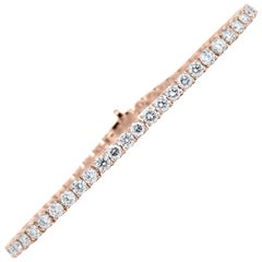 18 Karat Rose Gold Round Diamond Bracelet