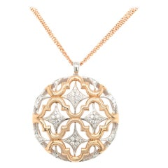 18 Karat Rose Gold Round Openwork Pendent with Diamonds Made in Italy