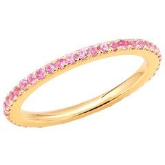 18 Karat Rose Gold Round Pink Sapphire Eternity Band