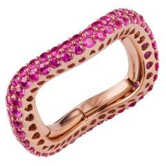 18 Karat Rose Gold Round Ruby Adjustable Band Ring