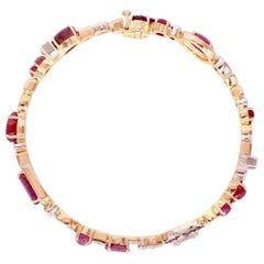 Sharon Khazzam 18 Karat Rose Gold Ruby and Diamond Baby Bangle Bracelet
