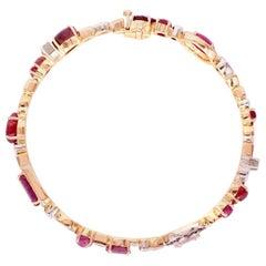 18 Karat Rose Gold Ruby and Diamond Baby Bangle Bracelet