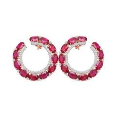 18 Karat Rose Gold 12.72 Carat Ruby and Diamond Contemporary Hoop Earrings